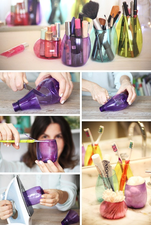 14 diy makeup organizer ideas that are so much prettier than those instead of tossing those plastic bottles keep the cute and colorful ones and transform them into cool little storage pots solutioingenieria Images