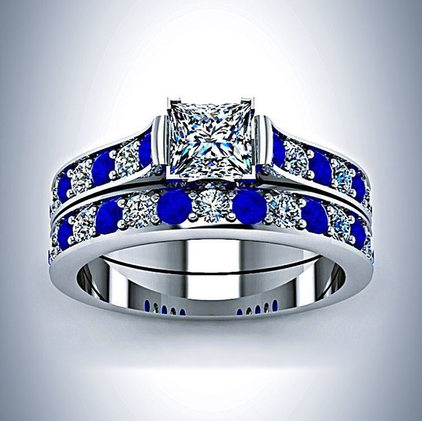 doctor who inspired tardis blue white gold princess cut diamond and sapphire engagement ring bridal set 79999 etsycom - Doctor Who Wedding Ring