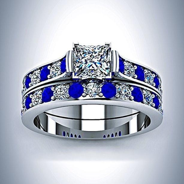 doctor who inspired tardis blue white gold princess cut diamond and sapphire engagement ring bridal set 79999 etsycom - Dr Who Wedding Ring