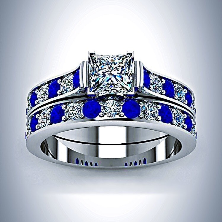 Doctor Who Inspired Tardis Blue White Gold Princess Cut Diamond And  Sapphire Engagement Ring Bridal Set, $799.99, Etsy.com