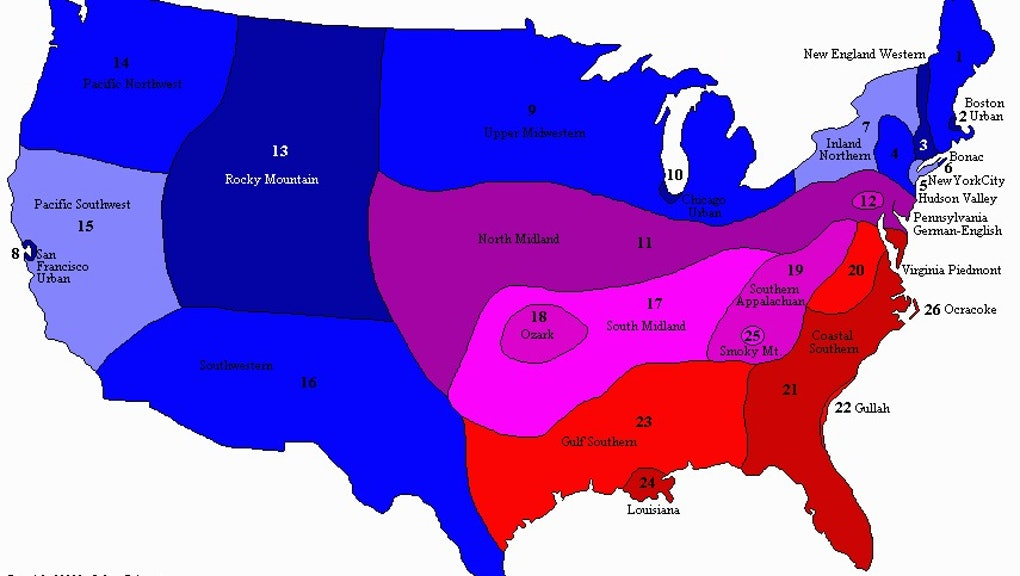 Show Map Of The Usa.Which American English Do You Speak This Map Shows The Dialects Of
