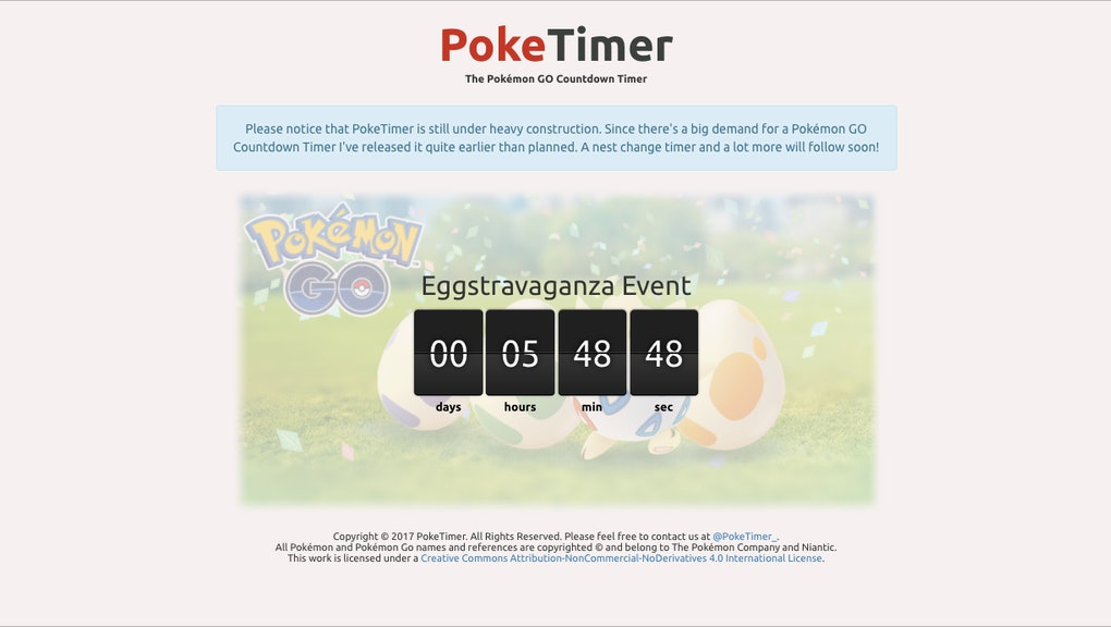 Pokémon Go' Event Timer Clock: The Easter Eggstravaganza countdown