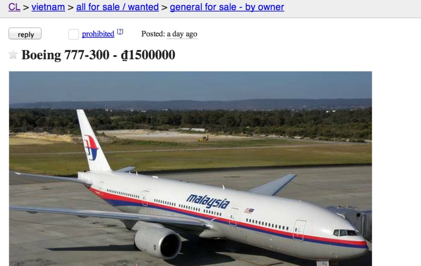 Someone Put Up a Craigslist Ad for the Missing Malaysia Airlines Plane