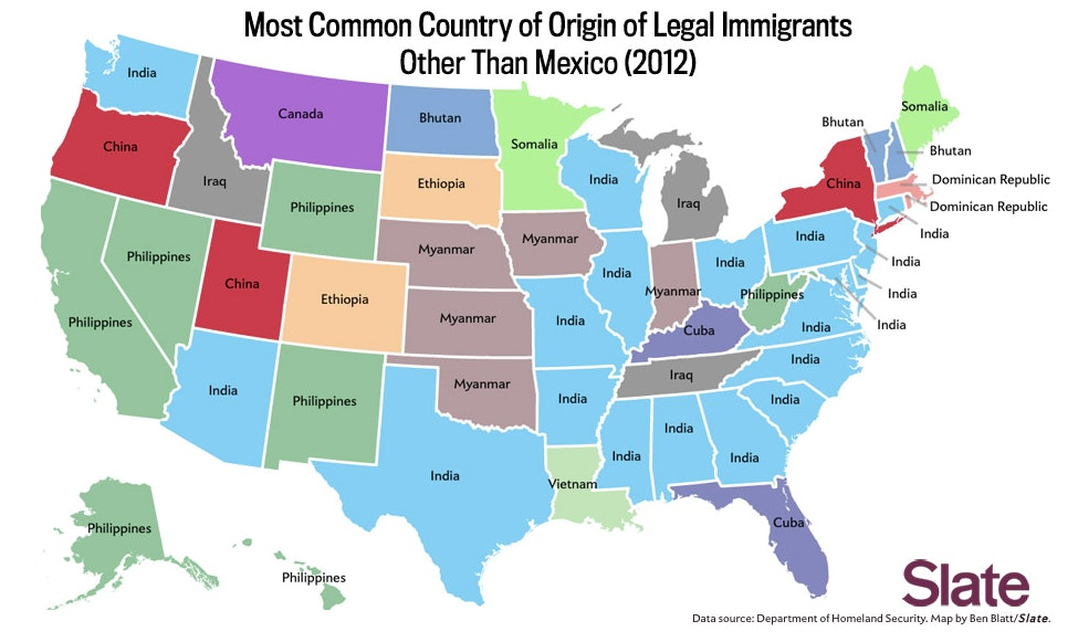 One Map Shows Where The Majority Of Immigrants Come From In Your - Map-of-us-countries