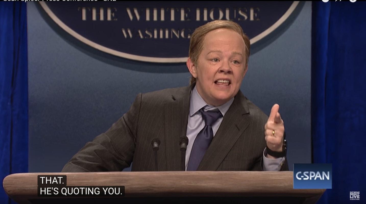 korlátozott mennyiség sok stílus olcsóbb Melissa McCarthy as White House press secretary Sean Spicer on ...