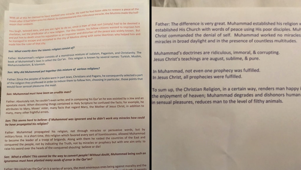 Catholic teacher gave 6th graders reading that described