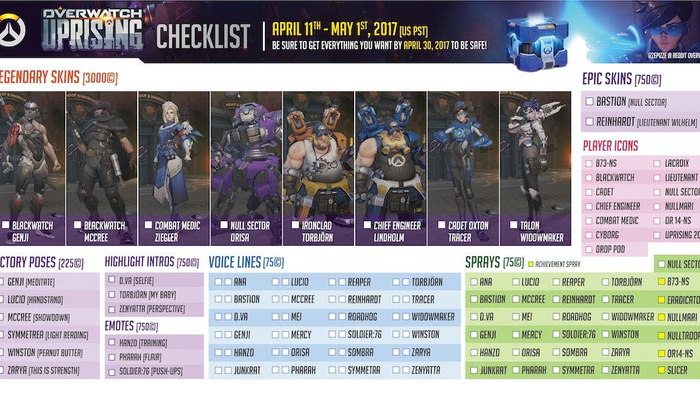 Overwatch Event Calendar.Overwatch Uprising Event Checklist How To Make Sure You Get All