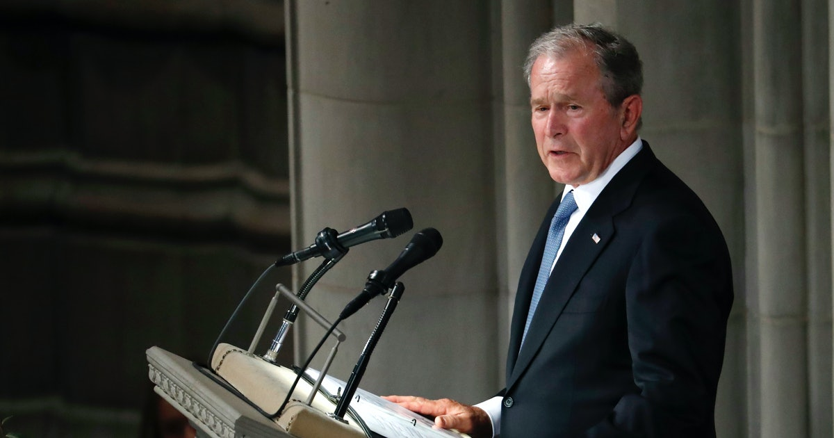 """George W. Bush on McCain: """"His absence is tangible like the silence after a mighty roar"""""""