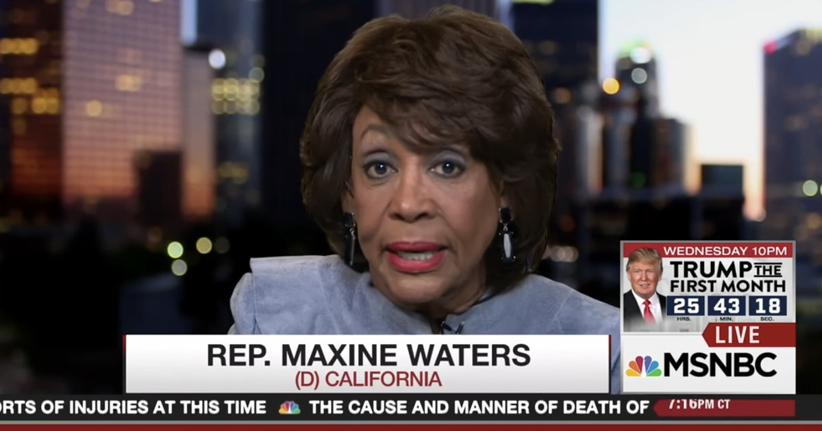 "Pulling absolutely no punches, Rep. Maxine Waters called Trump's entire Cabinet ""scumbags"""
