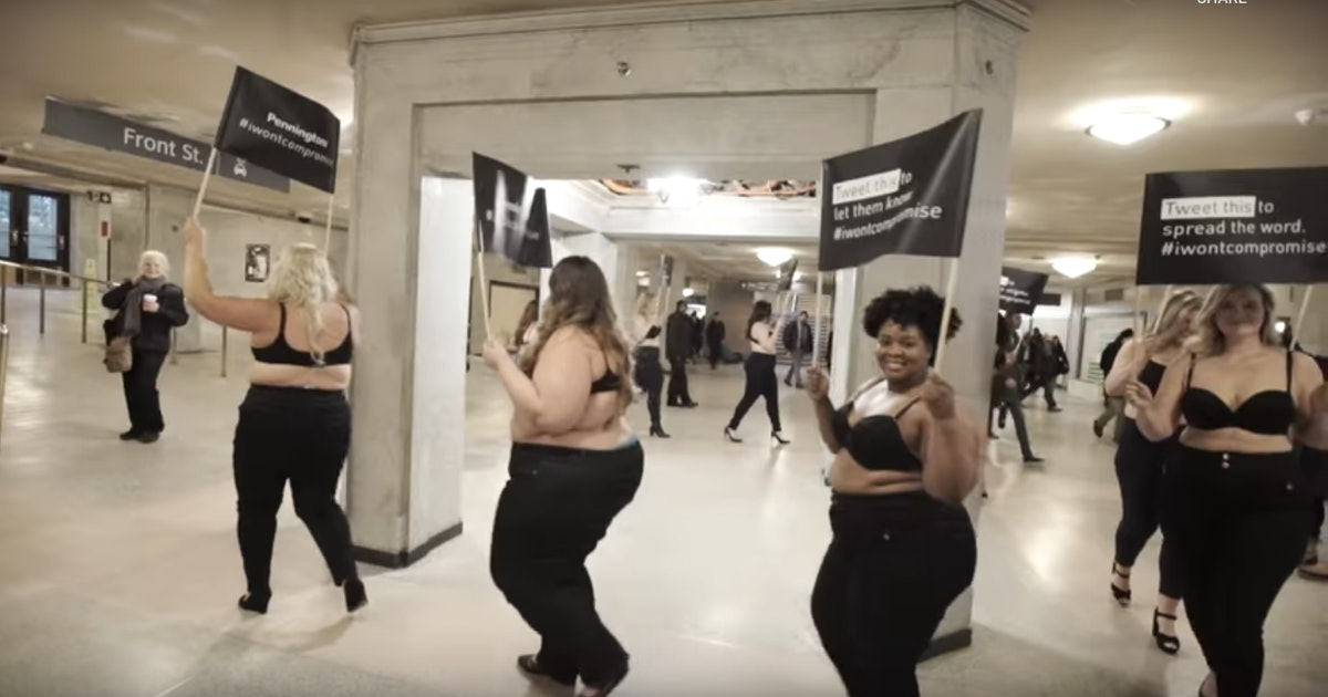 Plus-size women stormed a train station in just bras and jeans to promote body positivity
