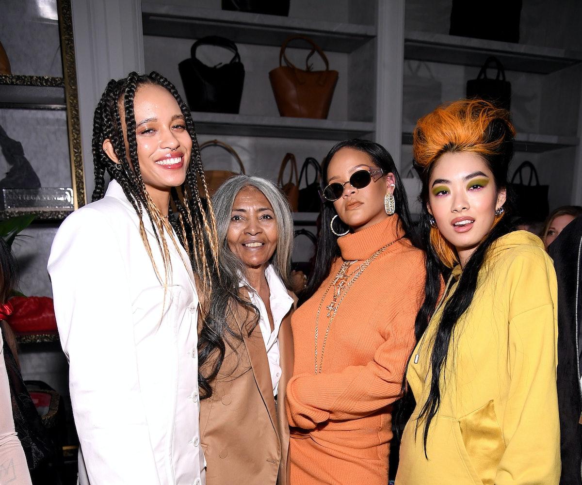Khi-Lo, Joani Johnson, Rihanna, and Rina Sawayama at the Fenty x Bergdorf Goodman launch party durin...