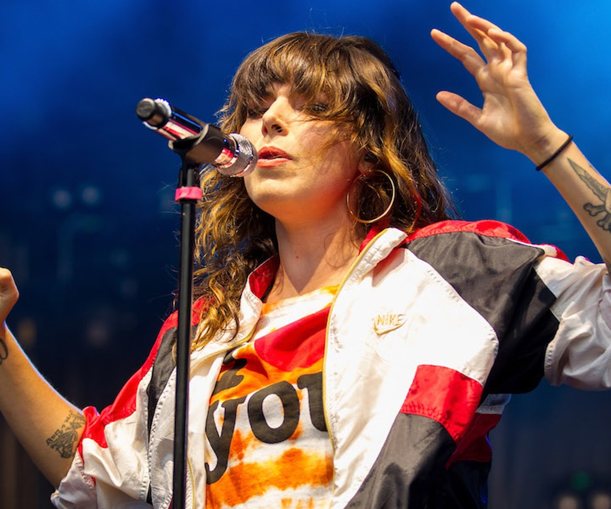Vocalist Alexis Krauss of Sleigh Bells performs at Shoreline Amphitheatre on August 7, 2018 in Mountain View, California.
