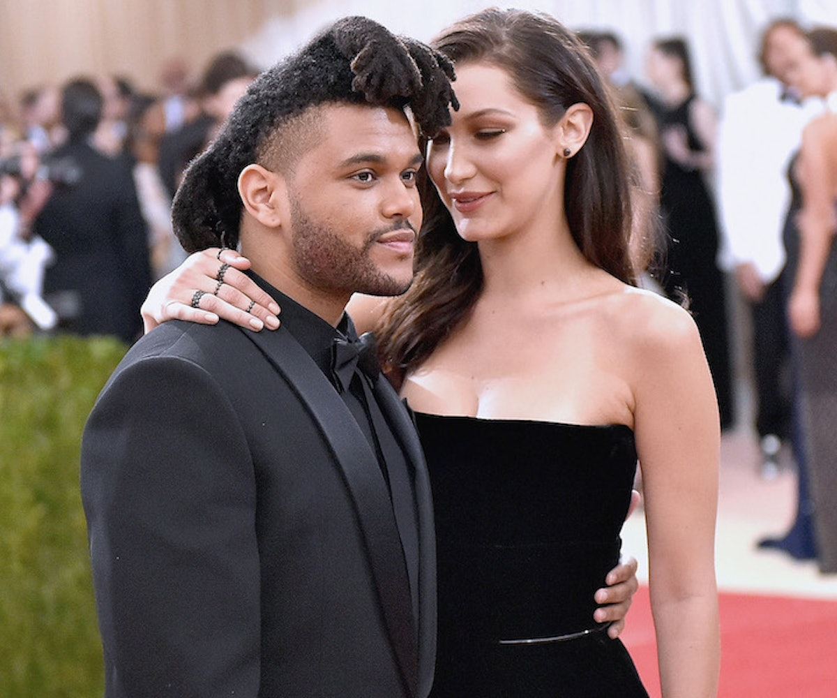 "The Weeknd (L) and Bella Hadid attend the ""Manus x Machina: Fashion In An Age Of Technology"" Costume Institute Gala at Metropolitan Museum of Art on May 2, 2016 in New York City."