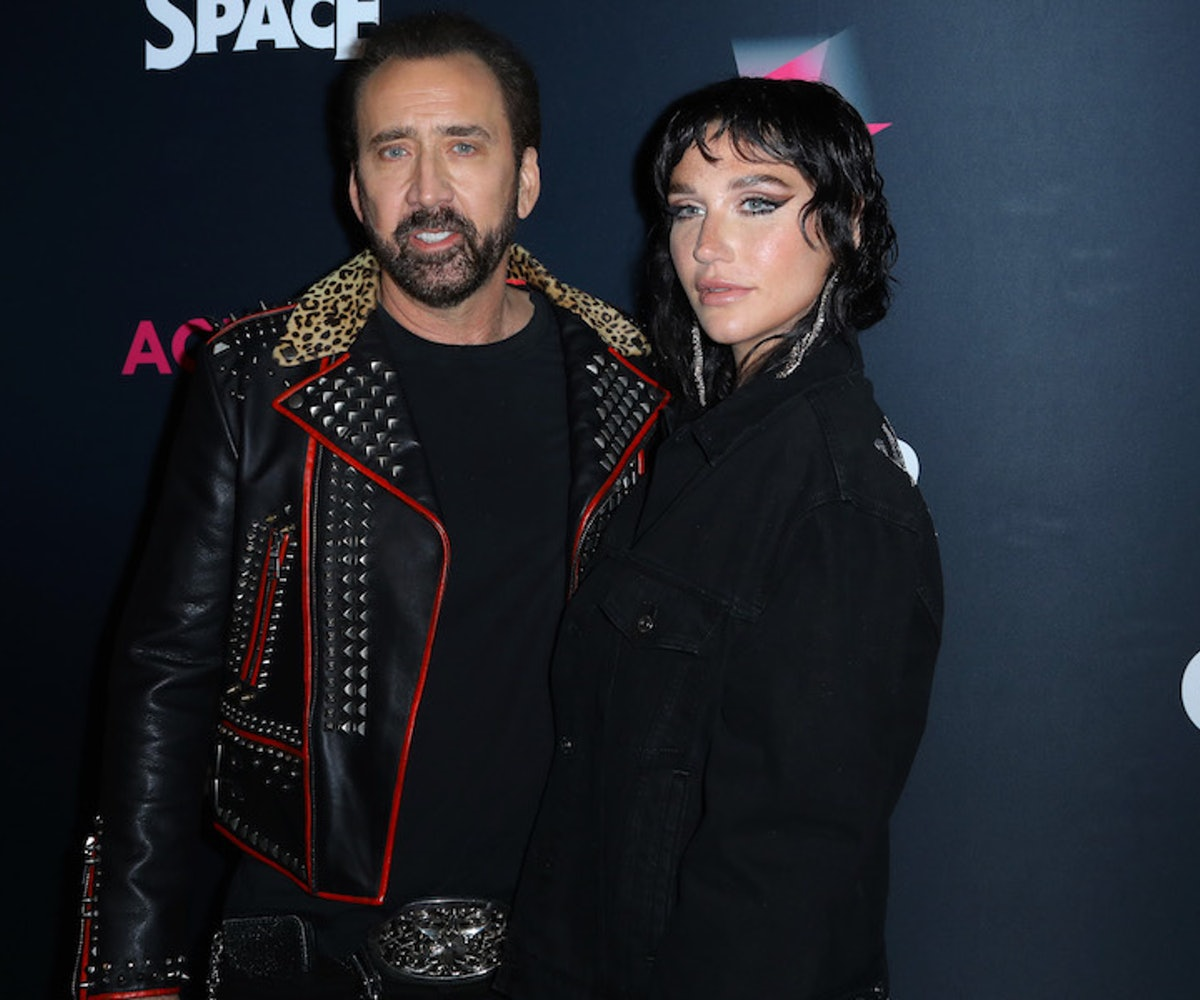 """Actor Nicolas Cage and recording artist Kesha attend the special screening of """"Color Out Of Space"""" at the Vista Theatre on January 14, 2020 in Los Angeles, California."""