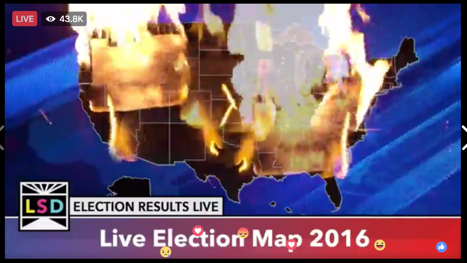 Check Out This Video Of An Electoral Map On Fire - Us-elections-2016-live-map