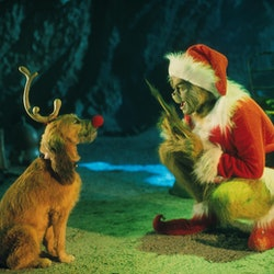 The Grinch and his dog Max in 'How the Grinch Stole Christmas'
