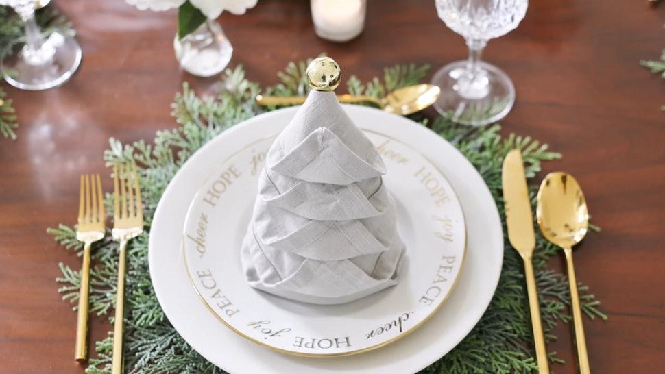 Fold Napkin Like Christmas Tree.How To Fold Napkins Like A Christmas Tree Go All Out For