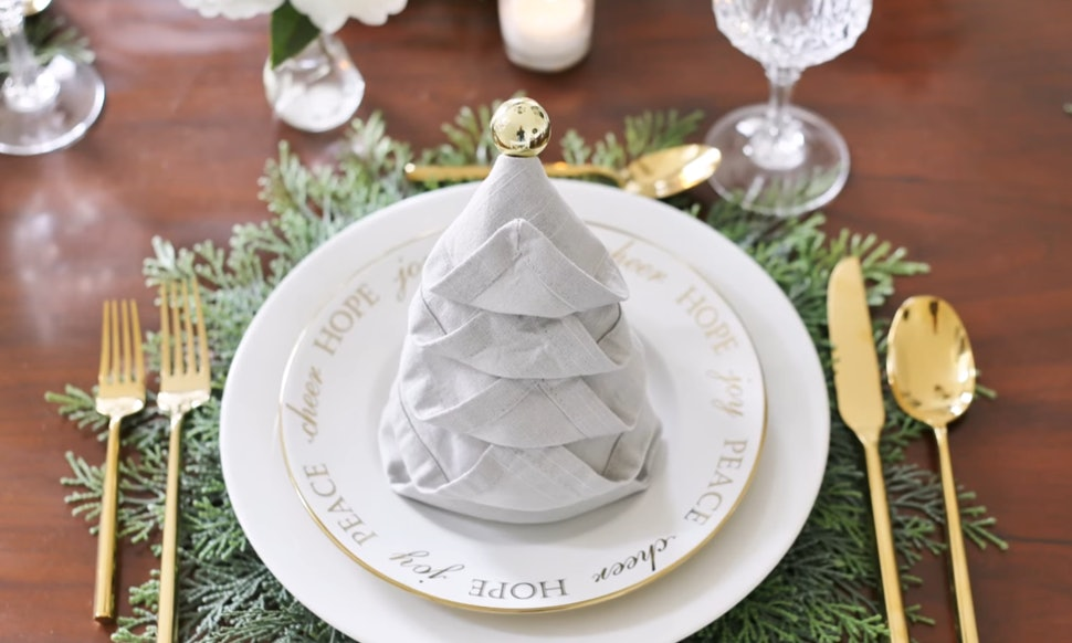 how to fold napkins like a christmas tree go all out for the holidays video - How To Fold A Napkin Like A Christmas Tree