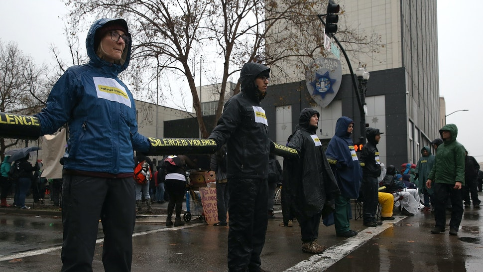 Chained To Oakland Police Department, Anti-Police Brutality