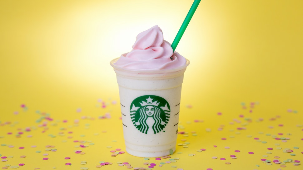 Whats In A Starbucks Birthday Cake Frappuccino Its Celebration Cup