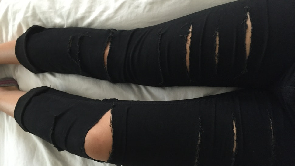 b71b77ee5c How To DIY Distressed Jeans Because It's So Easy To Rip Your Own Pants, So  Why Buy Them?