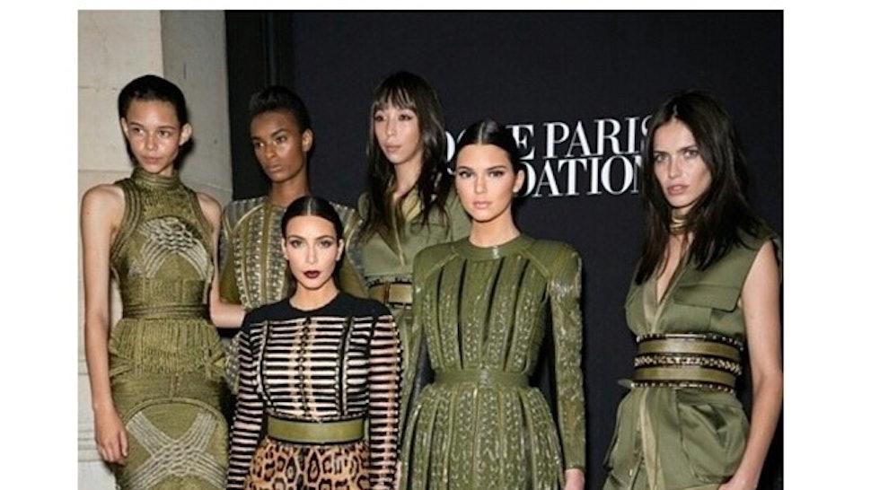1693b6ba8d4 Kim Kardashian and Kendall Jenner: Balmain Bosses at the 'Vogue' Foundation  Gala in Paris