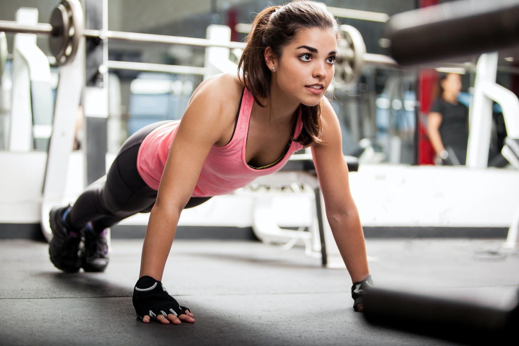 Leg workout at gym woman intimidating