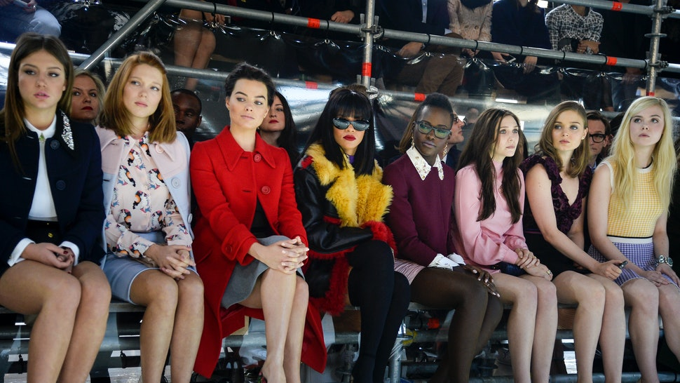 9e5dec8950ba Lupita Nyong'o, Rihanna, Ellie Fanning, and More Attend Miu Miu's Paris  Fashion Week Fall 2014 Show