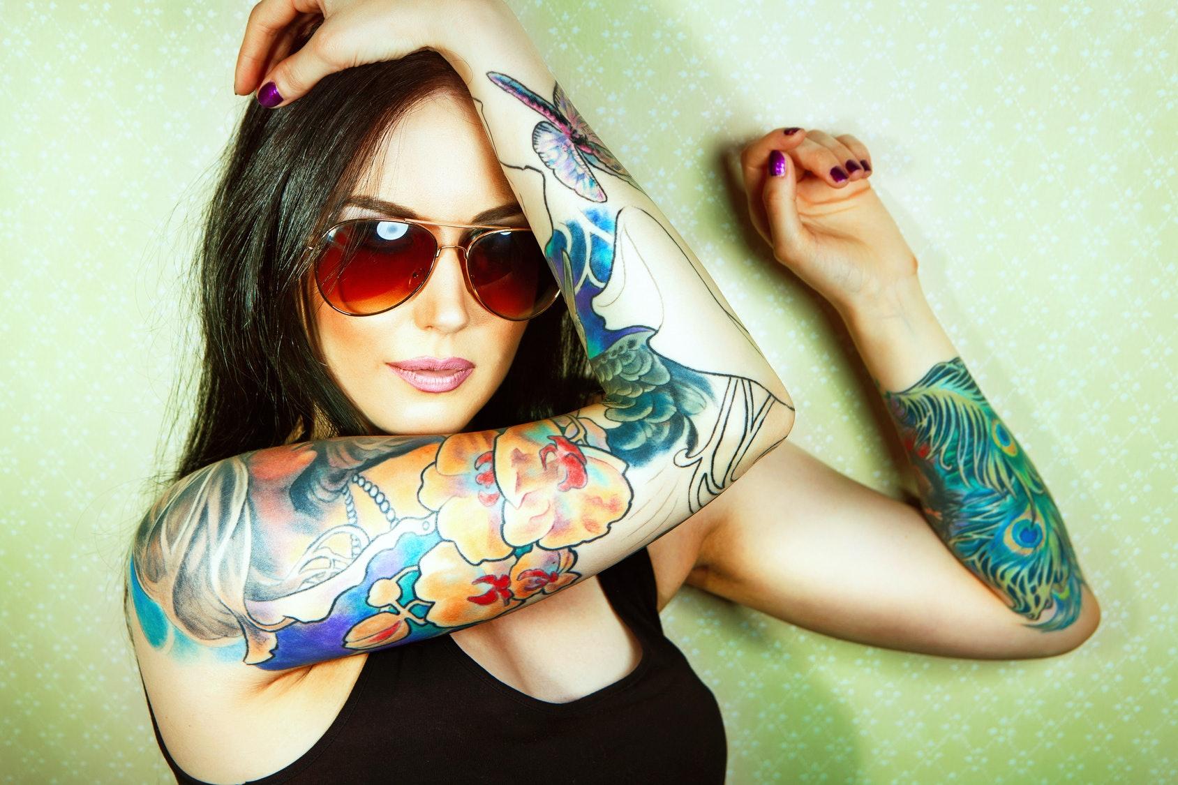 Tattooed american three some