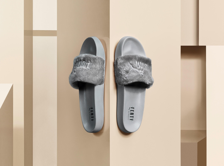 grey fenty puma slides
