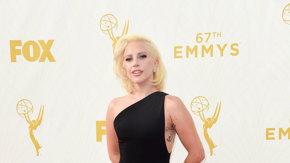 fc9bb6fb9f69 Lady Gaga s 2015 Emmy s Dress Is Totally Unexpected And So Beautiful —  PHOTOS