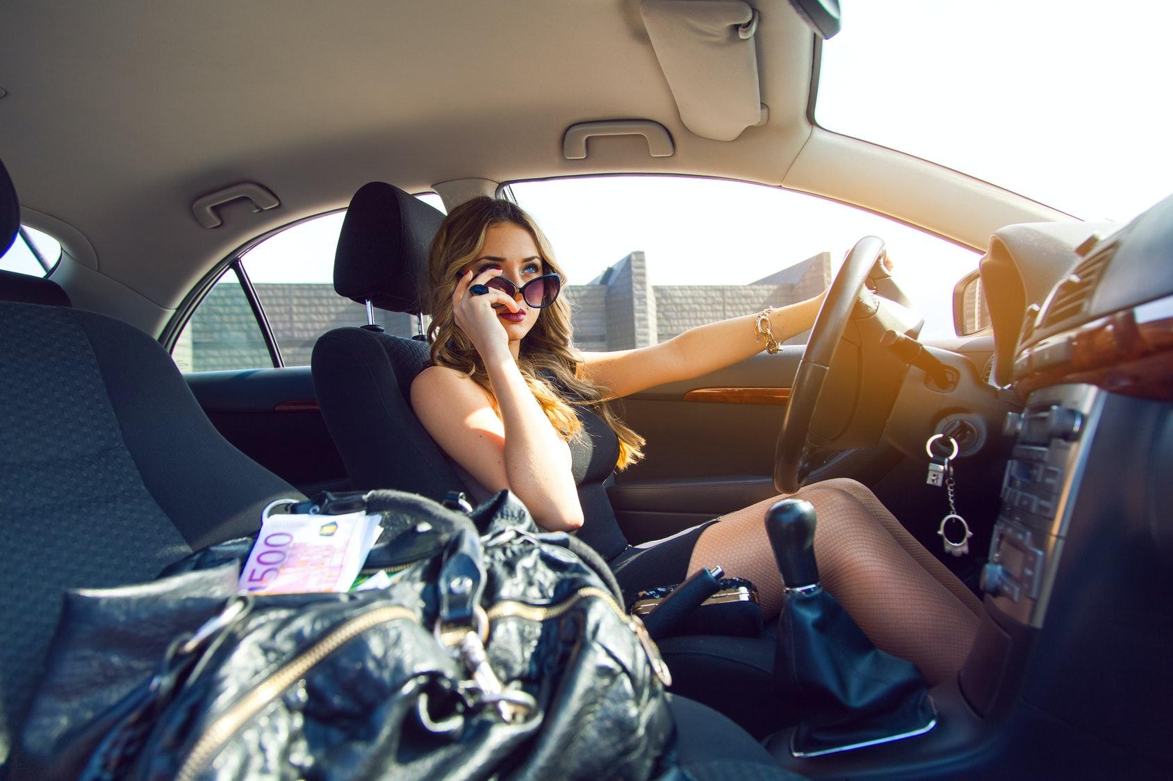 Women masterbating while driving