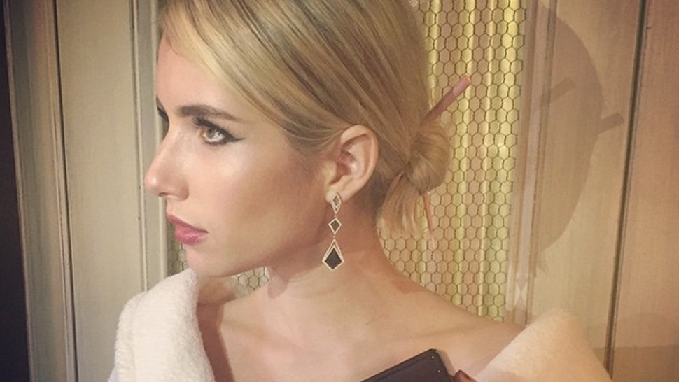 Emma Roberts 2015 Met Gala Outfit Features Cringe Worthy Hair Sticks