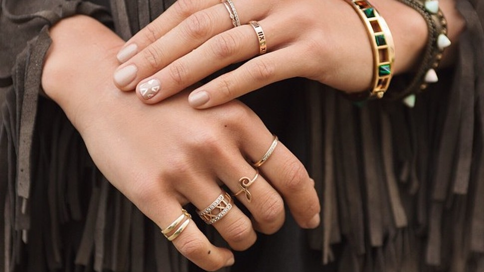 39f44a9553 21 Photos Of Stackable Rings That'll Teach You How To Wear A Bunch At Once  (Without Going Overboard)