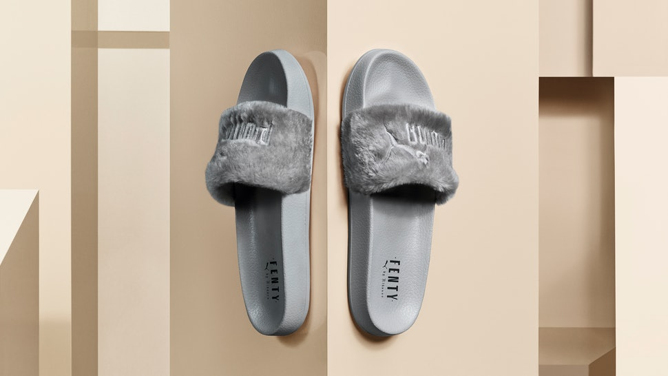 When Are Rihanna s Grey Fur Puma Slides Coming Out  The Fancy Footwear Is  Available On This Exact Date — PHOTOS 168a76ac53f6