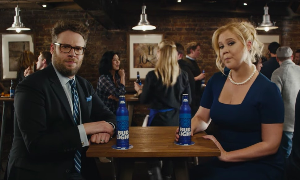Amy schumer seth rogen drink beer for equal pay in this pointed amy schumer seth rogen drink beer for equal pay in this pointed bud light commercial video mozeypictures Gallery