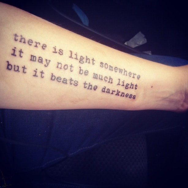 Blowball Text Tattoo: 24 Literary Text Tattoos Inspired By Moving Words From Books
