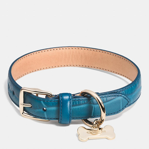 Croc Embossed Leather Dog Collar
