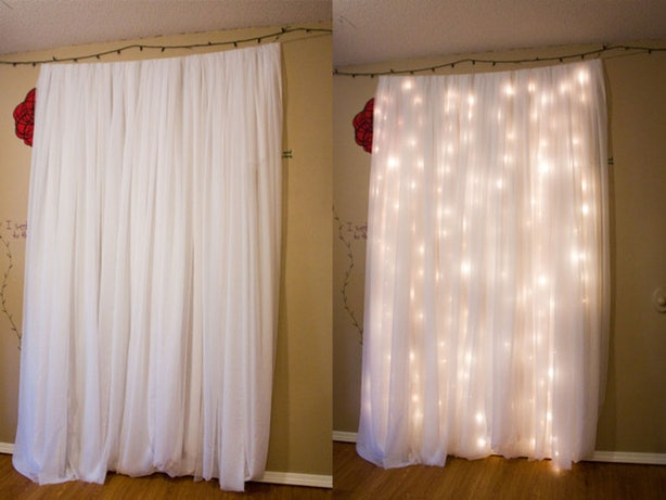 12 diy wedding photo booth ideas that will save you money and look sometimes you just need to keep it simple this is so easy but so pretty hang lights behind sheer curtains for a very cool effect for your diy photo booth solutioingenieria Gallery