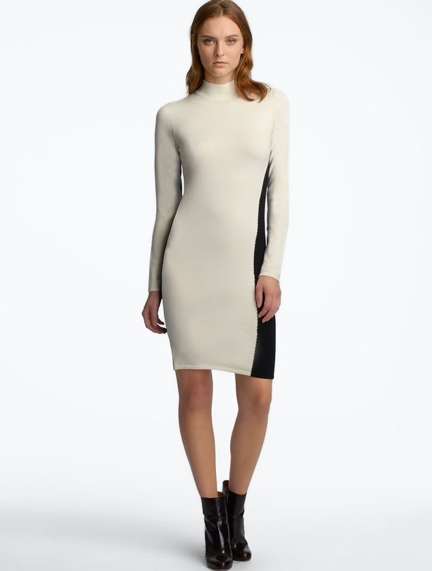 Of This Flattering Dress Extends Onto The Front In A Sinuous Line That Graphically Cuts Through Bone White And Its Neutral Color Scheme Makes