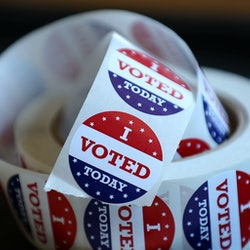 """A roll of """"I voted"""" stickers. The history of the tradition begins somewhere in the '80s."""