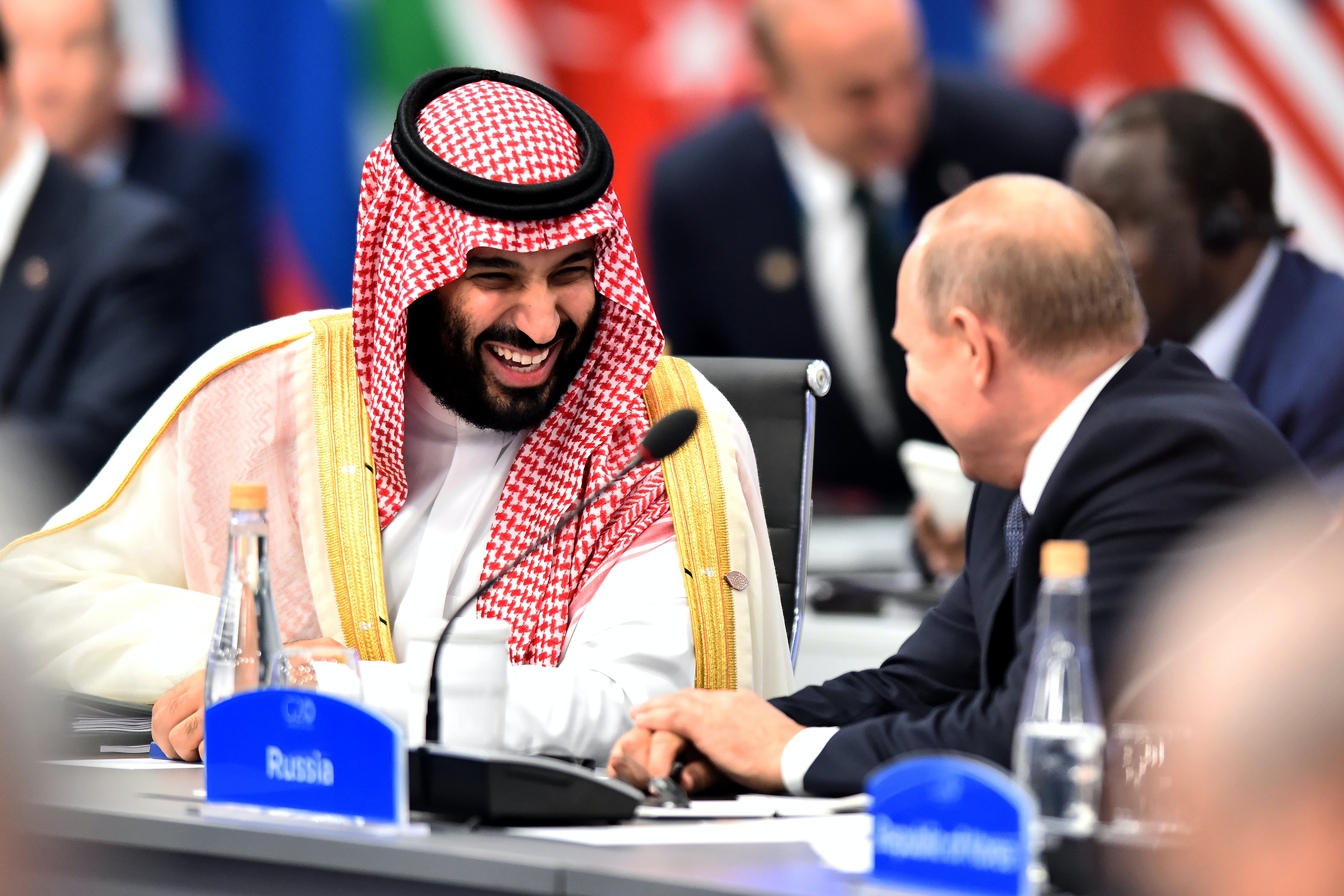 Image result for image of putin high five with MBS