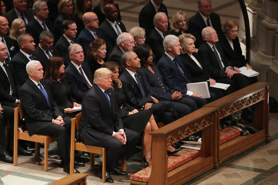 Photos Of The Trumps Obamas Clintons At George Hw Bush S Funeral