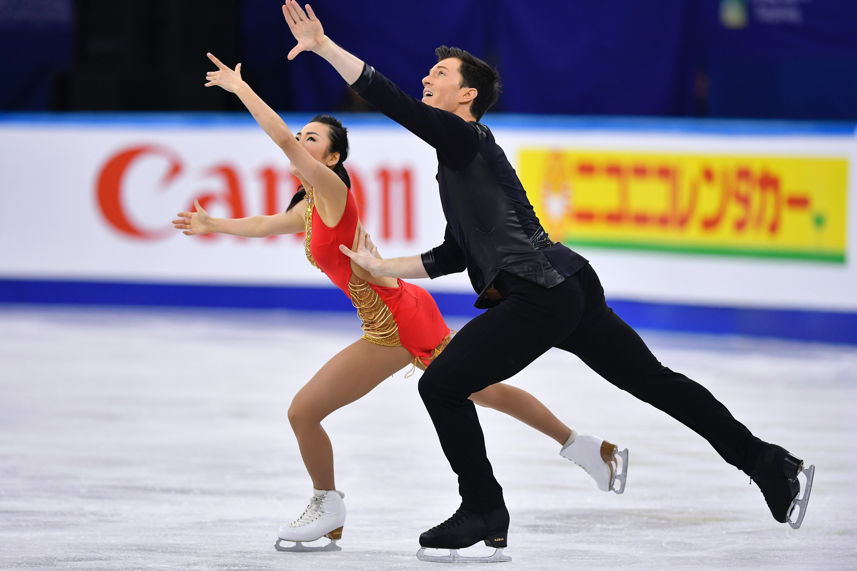 This is a couple figure skating.