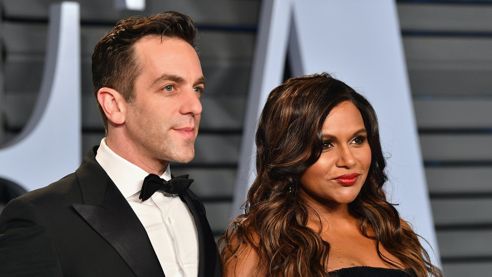 Bj Novak and Mindy Kaling on a red carpet.