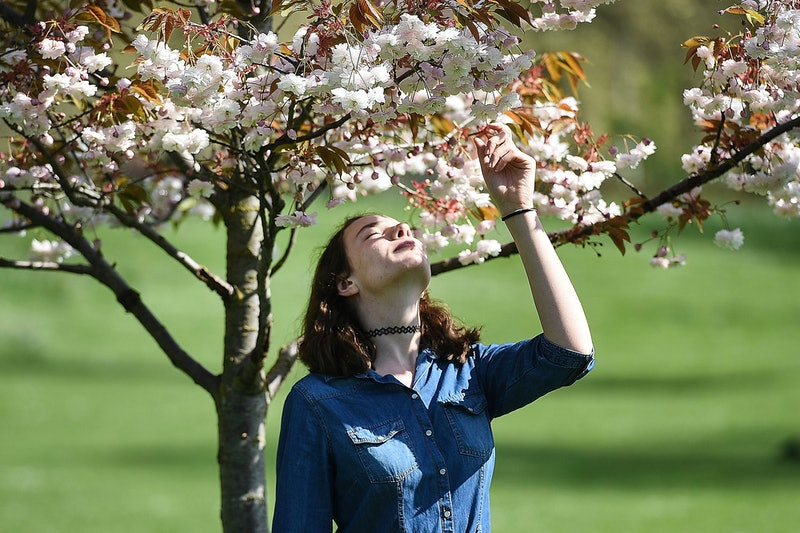 A woman smells flowers under a tree. Reverse seasonal affective disorder is a kind of seasonal depression that hits as the weather gets warmer.