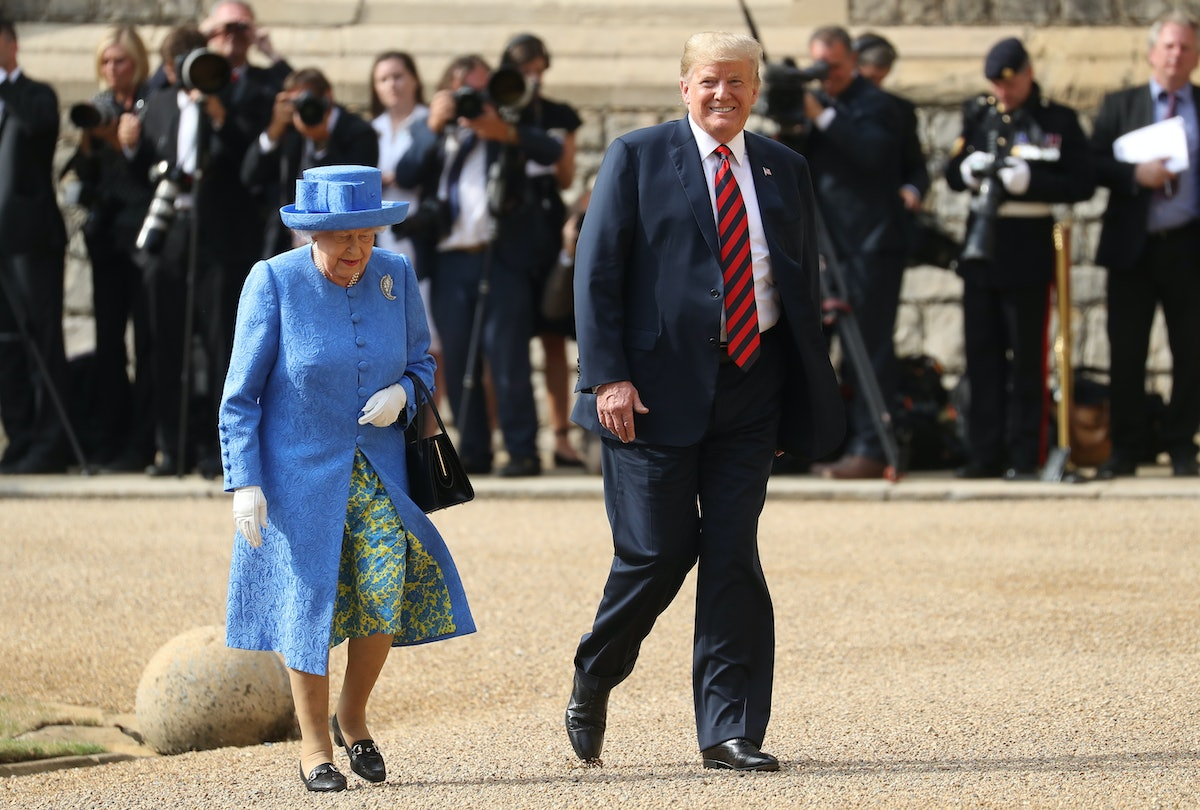Trump's Body Language Around Queen Elizabeth Was So Out Of Character For Him, Experts Say