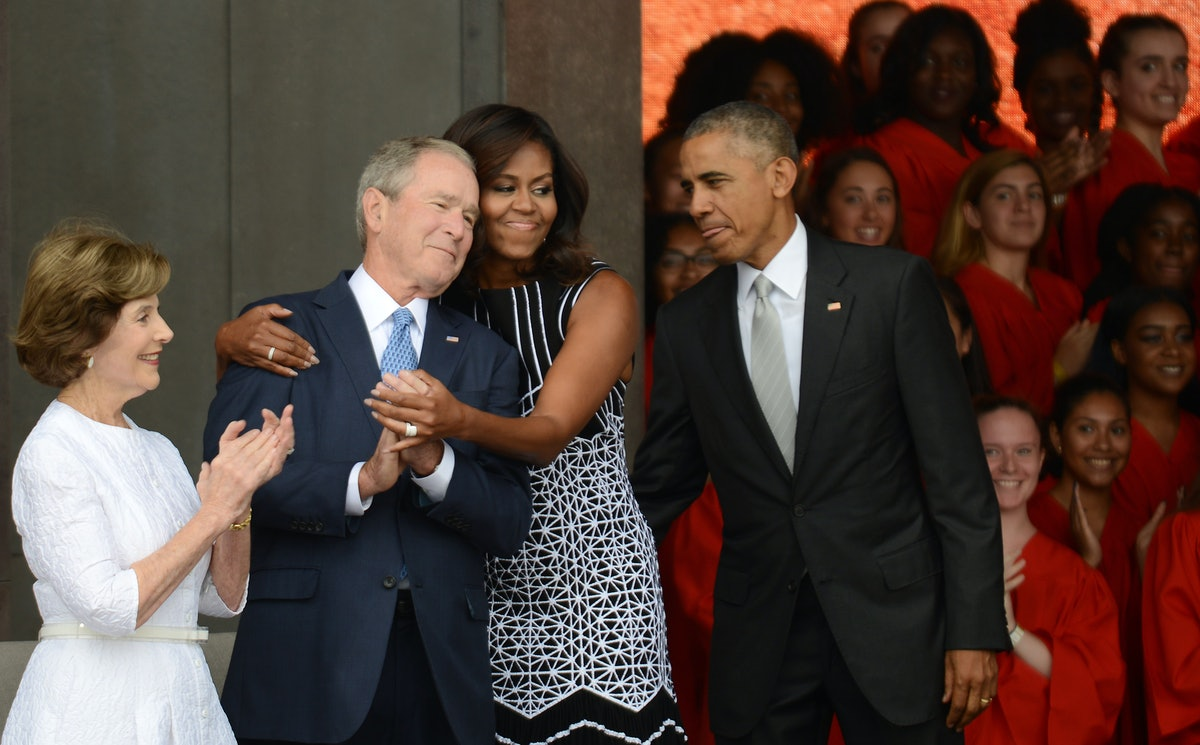 This Meme Of Michelle Obama & George Bush At McCain's Funeral Has Twitter Smiling
