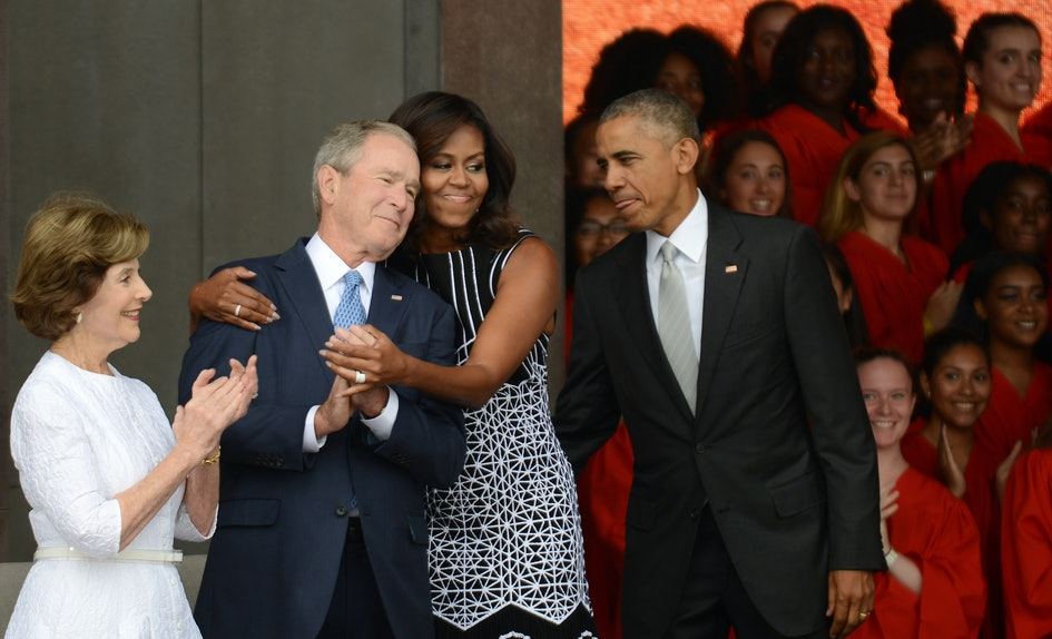 this meme of michelle obama george bush at mccain s funeral has