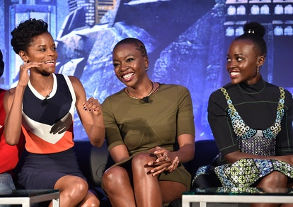 Brie Larson is campaigning for an all-female MCU movie that includes Black Panther cast members Lupita Nyong'o, Danai Gurira, and Letitia Wright, all seen here at a Marvel Black Panther press conference